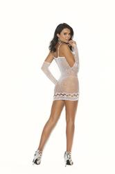 Crochet Mini Dress and Gloves - One Size - White