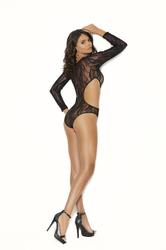 Long Sleeve Lace Teddy With Cut Out Side - One Size - Black