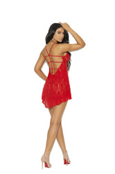 Lace Halter Neck Babydoll With Strappy Detail and Matching G-String - One Size - Red