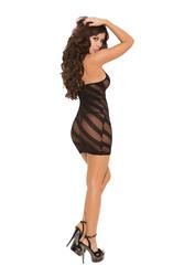 Burn Out Halter Dress - One Size - Black