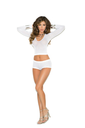 Long Sleeve Opaque Cami and Booty Shorts - One Size - White