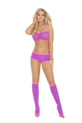 3 Piece Booty Shorts Set - One Size - Neon Pink/neon Purple