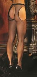 Fishnet Suspender Pantyhose - Queen Size - Black