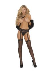 Sheer Garter Belt & Thigh Highs - Queen Size - Black