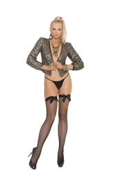 Fishnet Thigh Hi With Back Seam and Satin Bow  - Black