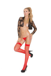 Fishnet Thigh Hi - Queen Size - Red