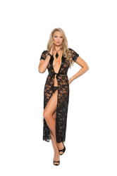 Long Lace Robe With G- String - Large  - Black