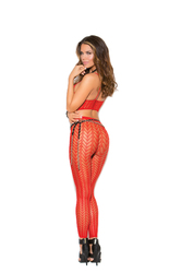Cami Top and Matching Legging With Feather Design - One Size - Red