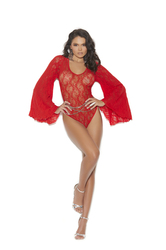 Long Sleeve Lace Teddy - One Size - Red