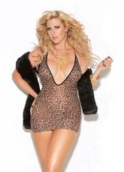 Deep v Mini Dress - Queen Size - Leopard
