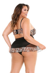 Delilah Babydoll and Panty - Leaopard Print/black - 3x4x
