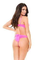 Farah Strappy Bra Top & Panty - Shocking Pink -  Small/ Medium