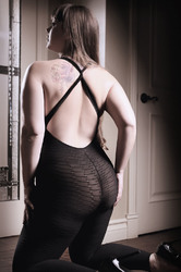 Black to Reality Opaque Textured Bodystocking -  Black - Queen