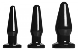 Level Up 3 Piece Anal Plug Set - Black