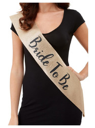 Deluxe Glitter Bride to Be Sash - Black and Gold