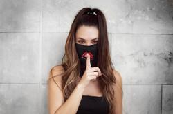 Face/ Neck Bandana Reversable- Black/ Red Lips Print - One Size