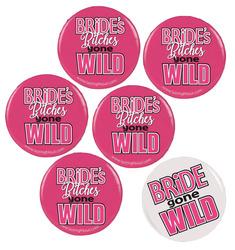 Bride Gone Wild Button Assortment  - 6 Buttons