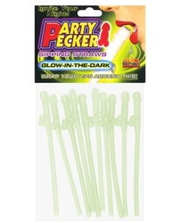 Party Pecker Sipping Straws 10 Pc Bag - Glow in the Dark