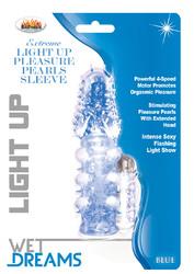 Light Up Extreme Pleasure Pearls Sleeve - Blue