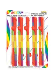 Rainbow Pecker Straws - 10 Pack