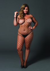 Fence Net Off the Shoulder Bodystocking - Queen Size