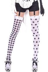 Diamond Design and Polka Dot Harlequin Thigh Hi - White / Black