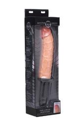 The Curved Dicktator 13 Mode Vibrating Giant Dildo Thruster - Flesh
