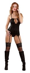 Keyhole Merry Widow and  G -String Set - Small Medium - Black