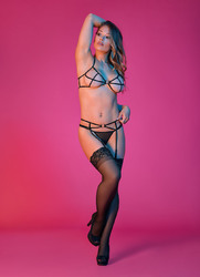 Sexy Time Strappy Bra Garter G-String Set With Rings - Black - L/xl