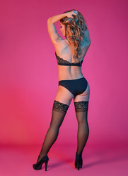 Sexy Time Halter Bandeau and Panty Set - Black -  L/xl