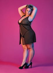 Sexy Time Fly Away Baby Doll and G-String Set - Black - 1x-3x