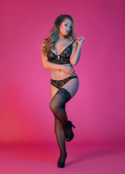 Sexy Time Underwire Bralette and Panty Set -  Black - L/xl