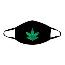 Dope Af Green Glitter Weed Leaf Black Face Mask With Black Trim