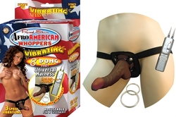 Afro American Whoppers Vibrating 8-Inch Dong With Universal Harness - Brown