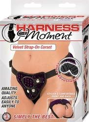 Harness the Moment Velvet Strap-on Corset-Purple