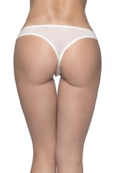 Crotchless Thong With Pearls and Venise Detail - White - 3x4x