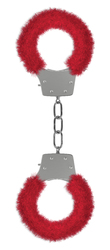 Pleasure Handcuffs Furry - Red