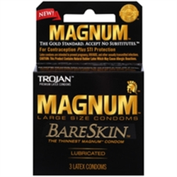 Trojan Magnum Bareskin Large Size Condoms 3 Pack