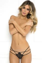 Batting Eyelash Buttless Bikini  - Small/ Medium -  Black