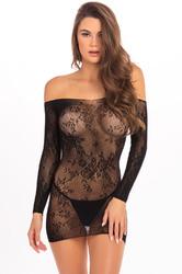 Open Season Off-Shoulder Mini Dress - Black - S/m