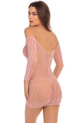 Demure Long Sleeve Mini Dress - Rose - Small/  Medium