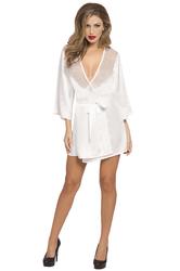Satin & Eyelash Robe - One Size - White