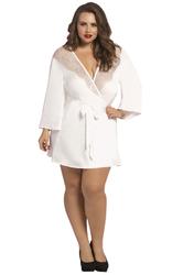 Satin & Eyelash Robe - Queen Size - White