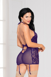 Lace and Mesh Chemise Set - One Size - Purple