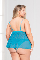 Mesh Babydoll and Panty Set - Queen Size - Teal