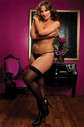 Sheer Thigh High - Queen Size - Black