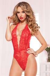 Floral Lace Teddy - One Size  - Red