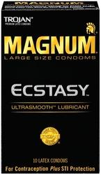Trojan Magnum Large Size Ecstasy Ultrasmooth Lubricant - 10 Pack Tj64310