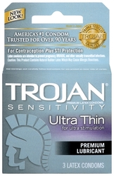 Trojan Sensitivity Ultra Thin Lubricated Condoms - 3 Pack