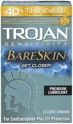 Trojan Sensitivity Bareskin Lubricated Condoms - 10 Pack